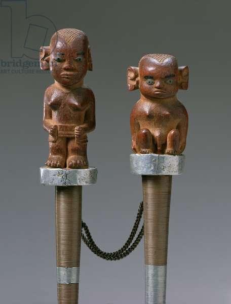 Pair of batons, c.1930 (wood and metal)