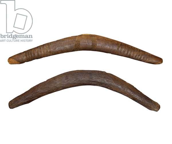 Two boomerangs, c.1950 (wood)