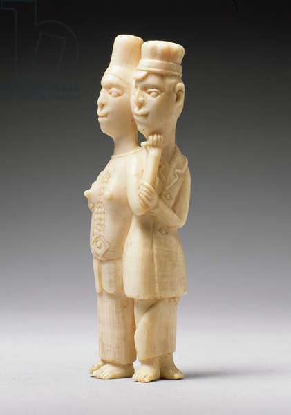Figures of a man in European dress and an African woman, Congo (ivory)