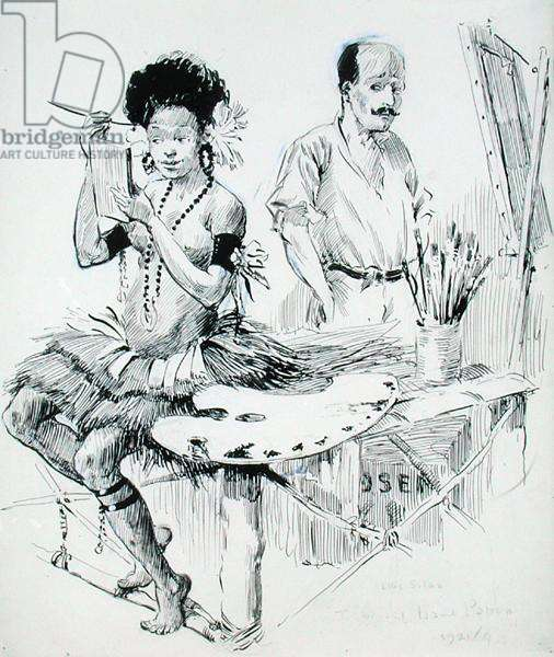 The Artist and his Model, 1921 (pencil, ink and wash on paper)