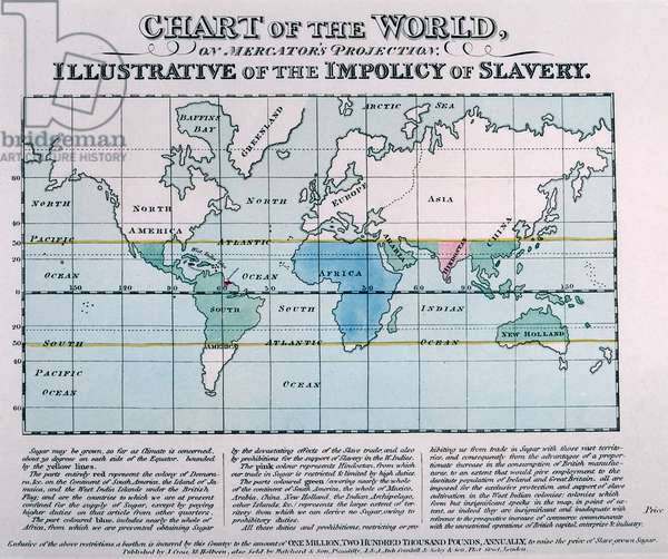 Chart of the World used as an illustrative of the impolicy of slavery, published c.1820 (coloured engraving)