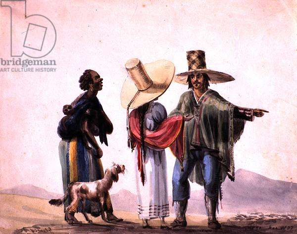 People from Pisco, 1820 (w/c on paper)
