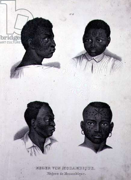 Negroes of Mozambique, c.1850 (litho)