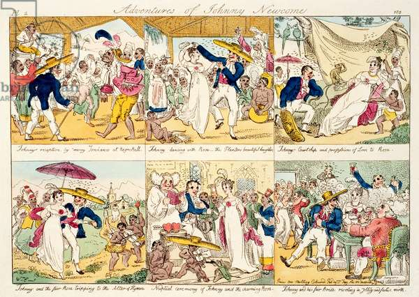 The Adventures of Johnny Newcome, published 1812 (coloured etching) (photo)