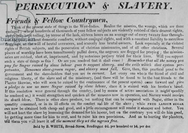 Persecution and Slavery, c.1830 (letterpress) (b/w photo) (see 180347)