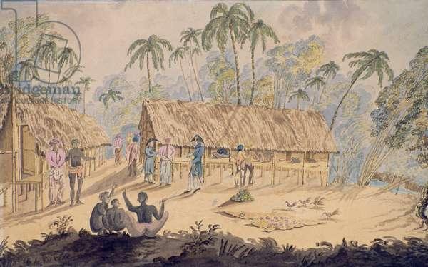 City of Acheen, North West Coast of Sumatra, 1829 (w/c on paper)