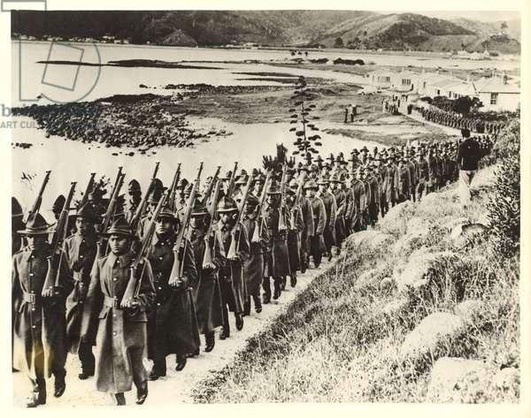 Contingent of the Maori Battalion, 1940 (silver gelatin print)