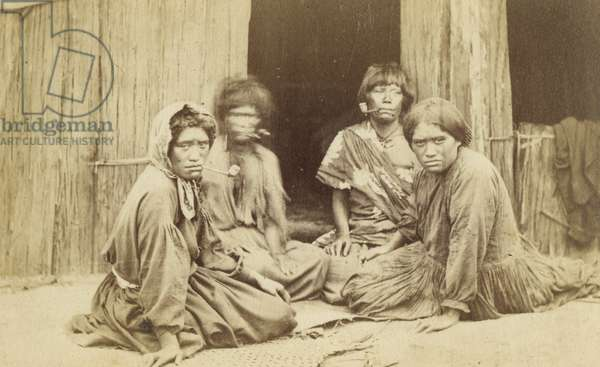 Group of Maori Women Outside a Whare, c.1865 (albumen print)