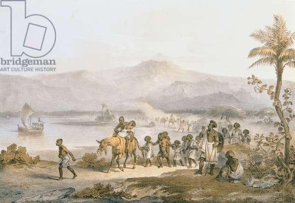 A Slave Caravan on the March, engraved by A. Muttenthaler, c.1852 (colour litho)