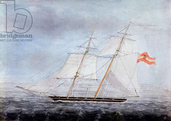 The Slaver 'Teresa', Taken by HMS 'Pelorus' on the Coast of Africa, 1832 (w/c on paper)