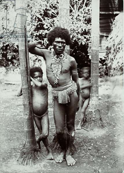 Man and two children, Papua New Guinea, 1899 (gelatin silver print)
