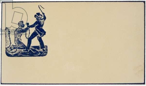 Abolitionist emblem depicting a slave owner thrashing his slave, c.1860 (wood engraving vignette)