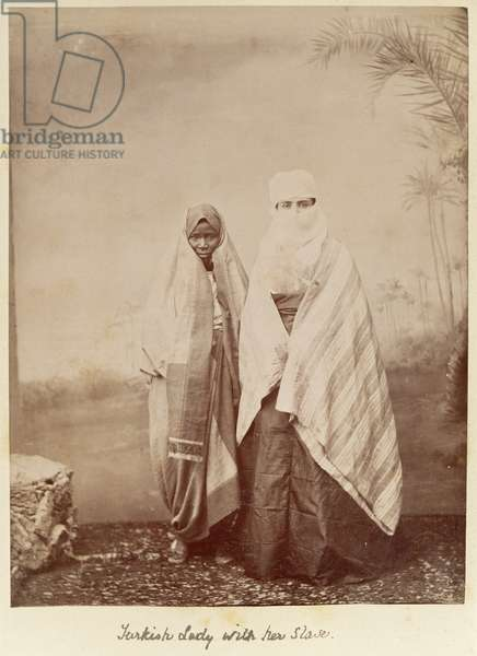 Turkish Lady with her Slave, c.1890 (albumen print photo)