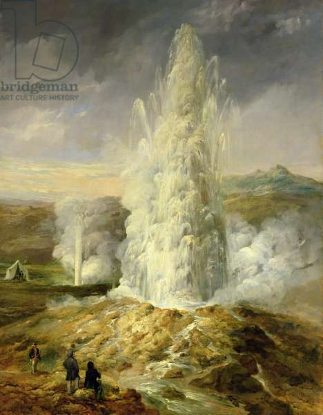 The Great Geysir, South Iceland, 1849 (oil on canvas)
