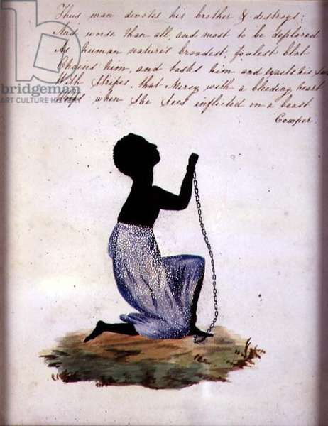 Slave with Chains and a Poem, c.1827 (w/c on watermarked paper and prickwork)