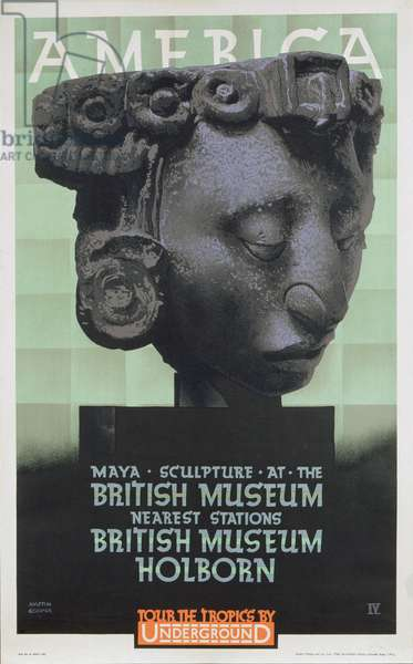 London Underground poster advertising 'America', a British Museum exhibition, 1930 (colour litho)