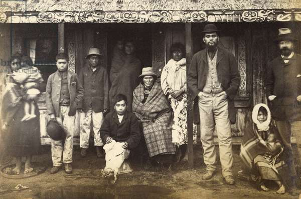 Refugees from Te Wairoa and others, 1886 (albumen print)