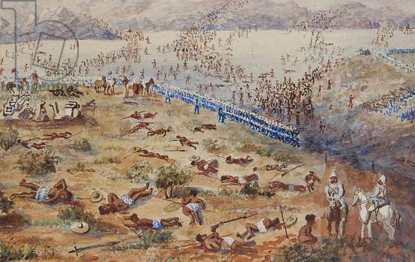 Battle of Tamai, 1884 (w/c on paper) (detail of 373708)