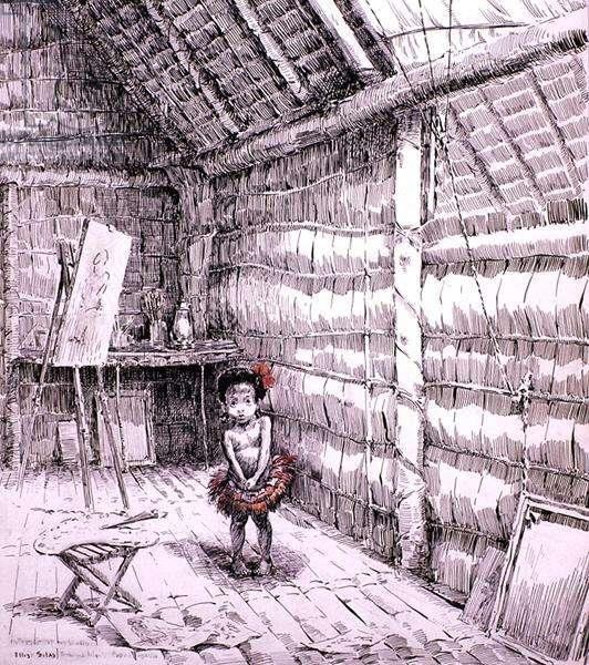 Interior of my Studio, 1921-24 (pen, pencil and pigment on paper)