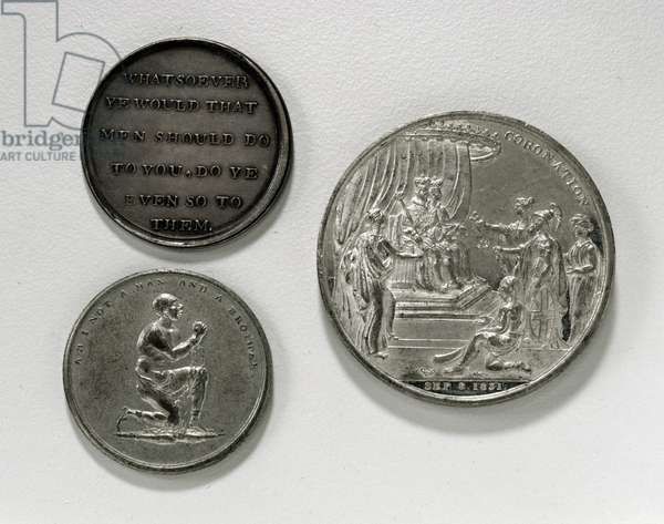 Anti-slavery medals, 1787 (silver) and a medal depicting the Coronation of William IV (1765-1837) by Thomas Halliday (fl.1800-44) Birmingham, 1831 (white metal) (reverse) (for observe see 120618)