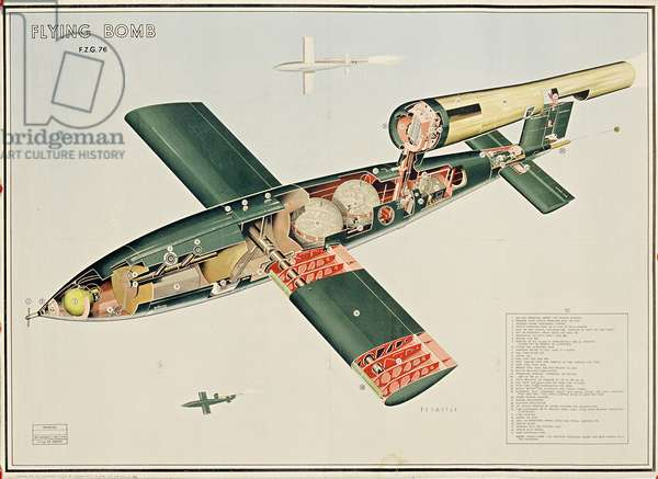 Flying Bomb F.Z.G. 76, 1944 (colour litho)