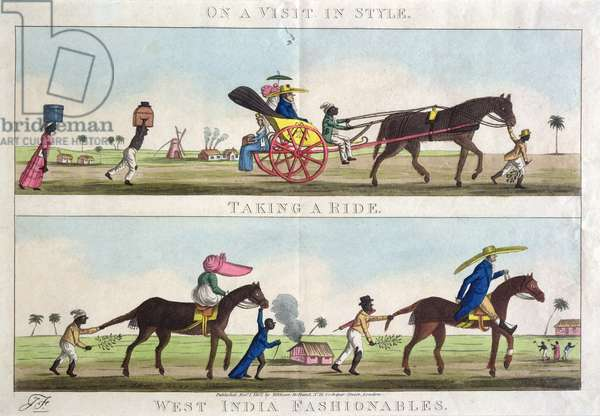 'West India Fashionable', On a Visit in Style, and Taking a Ride, pub. by William Holland, 1807 (etching, engraving and aquatint)