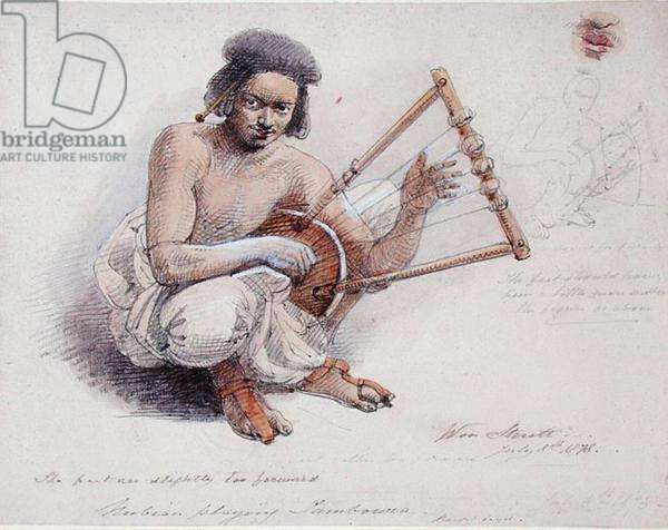 Nubian Playing Tambourine, 8th July 1878 (pencil and wash on paper)