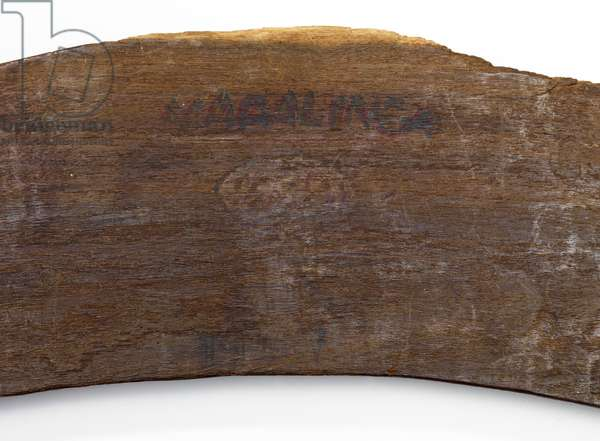 Detail of a boomerang, c.1950 (wood)