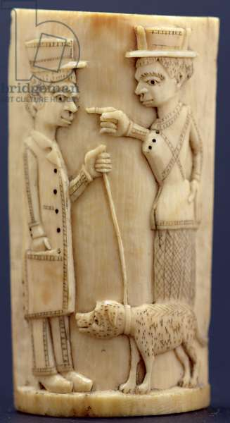 Plaque with figures of missionaries, Congo (ivory)