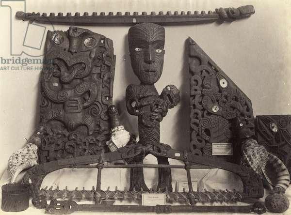 Artefacts in the Auckland Museum, c.1890 (albumen print)