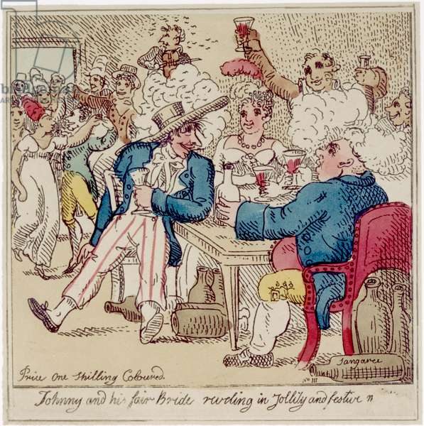 Johnny and his Fair Bride Reveling in Jollity and Festive, from 'The Adventures of Johnny Newcome', published 1812 (etching with w/c)