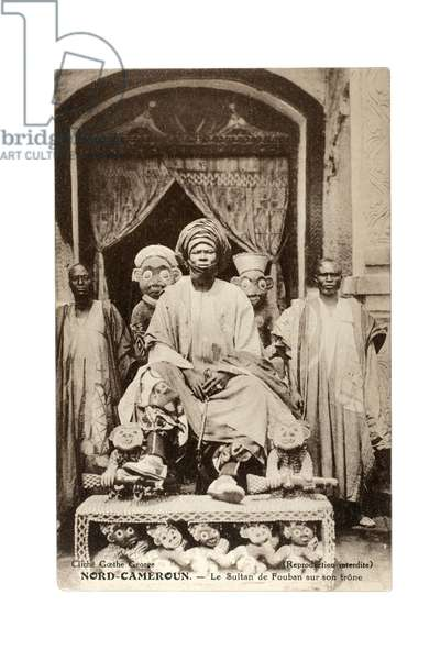 The Sultan of Foumban on his throne, Cameroon, c.1910 (litho)