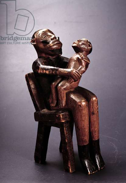 Seated father figure holding a child, Bembe, Congo, early 20th century (wood)