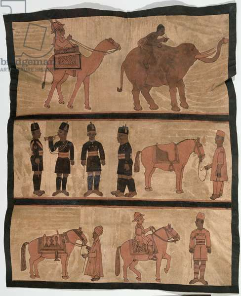 Leatherwork panel depicting colonial scenes, Hausa, Northern Nigeria, c.1940 (leather) (see 223989)
