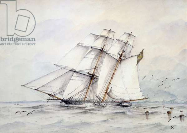 The Slaver 'Esmeralda' captured on 1 November 1864 off Loango, West Coast of Africa, by HMS 'Rattler' and taken to St. Helena to Prize Court, 1864 (w/c on paper)