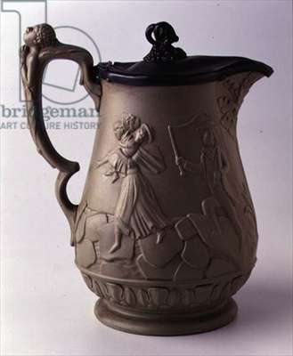 Jug, decorated with a relief scene of a master whipping a slave mother and child, 1853 (pottery and pewter)