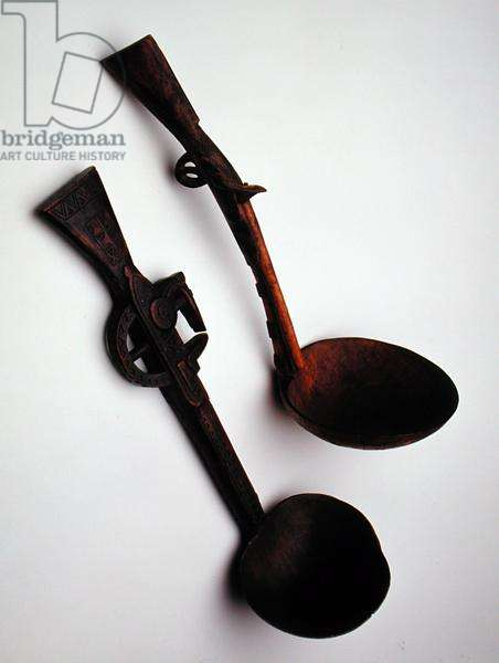Pair of Ladles with handles in the form of rifles, c.1900 (wood)