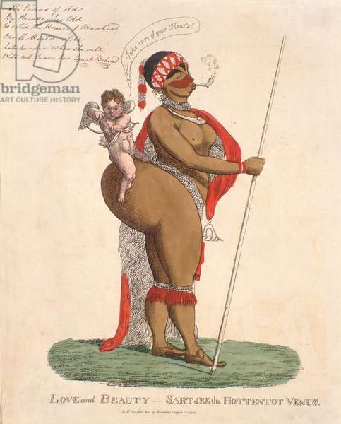 Love and Beauty - Sartjee the Hottentot Venus, 1810 (handcoloured engraving)