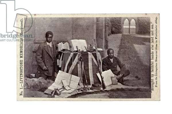 James Chuma and Abdullah Susi with David Livingstone artefacts, Newstead Abbey, England, June 1874 (albumen print)