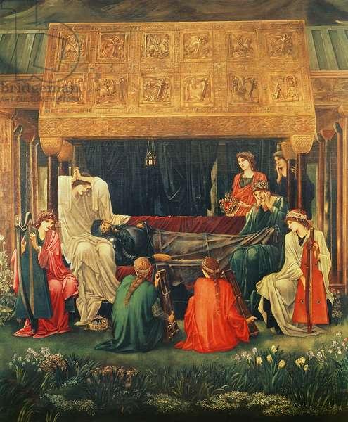 The last sleep of Arthur in Avalon, 1881-98 (oil on canvas)