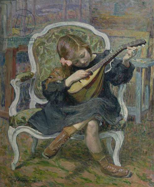 Girl Playing a Mandolin (oil on canvas)