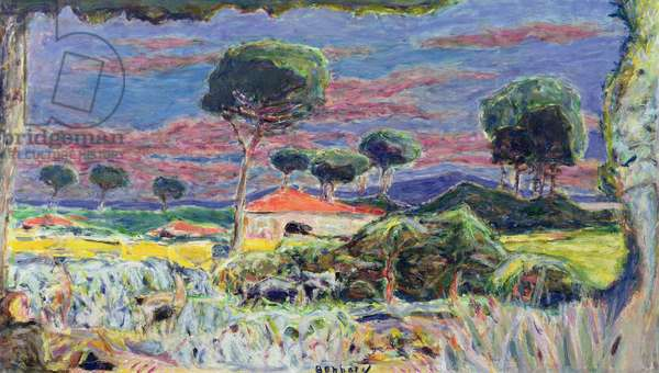 Landscape at midday (oil on canvas)