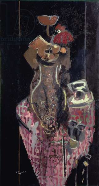 Vase of Flowers on a Pink Tablecloth (oil on canvas)