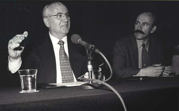 Mikhail Sergeyevich Gorbachev discussing the break-up of the Soviet Union and Pavel Palazchenco, his media adviser and translator, Lonon, UK, 1996