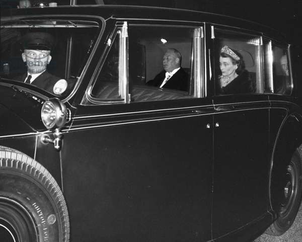 Duke and Duchess of Gloucester leaving a Regimental Dinner at Hyde Park Hotel, London, UK, 1958 (b/w photo)