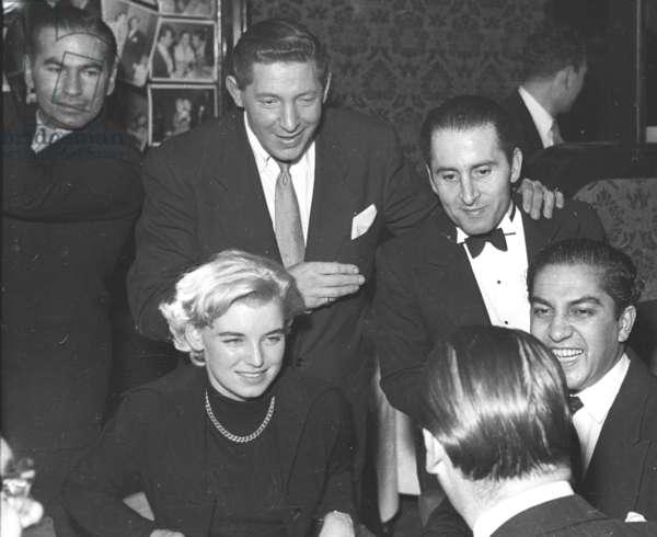 Bill Ofner, Al Burnett, Pip Carriello, Vicky Martin, Captain X and the Maharaja of Cooch-Behar, Stork Room, London, UK, 1953 (b/w photo)