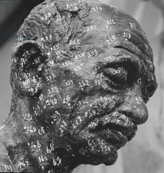 Gandhi memorial maquette by sculptor Fredda Brilliant (b/w photo)
