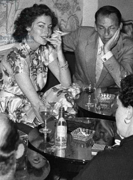 Ava Gardner and Frank Sinatra, Vendome Bar, Bond Street, London, UK, 1953 (b/w photo)