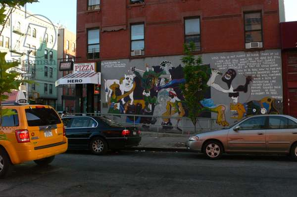 "View of the mural ""Guernica"" by James De La Vega '99, 125th Street, Manhattan, New York, USA"