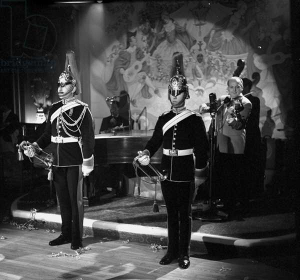 Trumpeters of the Household Cavalry, New Year's Eve, Quaglino's, London, UK, 1958 (b/w photo)